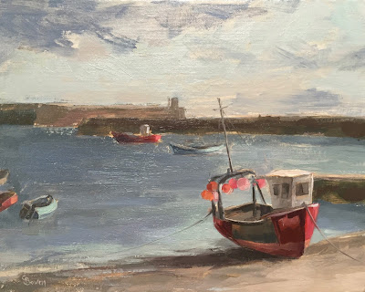 #91 'Early Morning Staithes Harbour' 8×10″