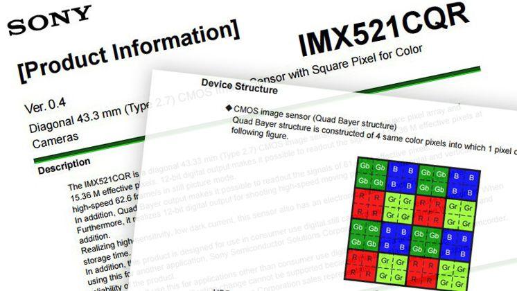 Скриншоты документа с техническим описанием сенсора Sony IMX512CQR