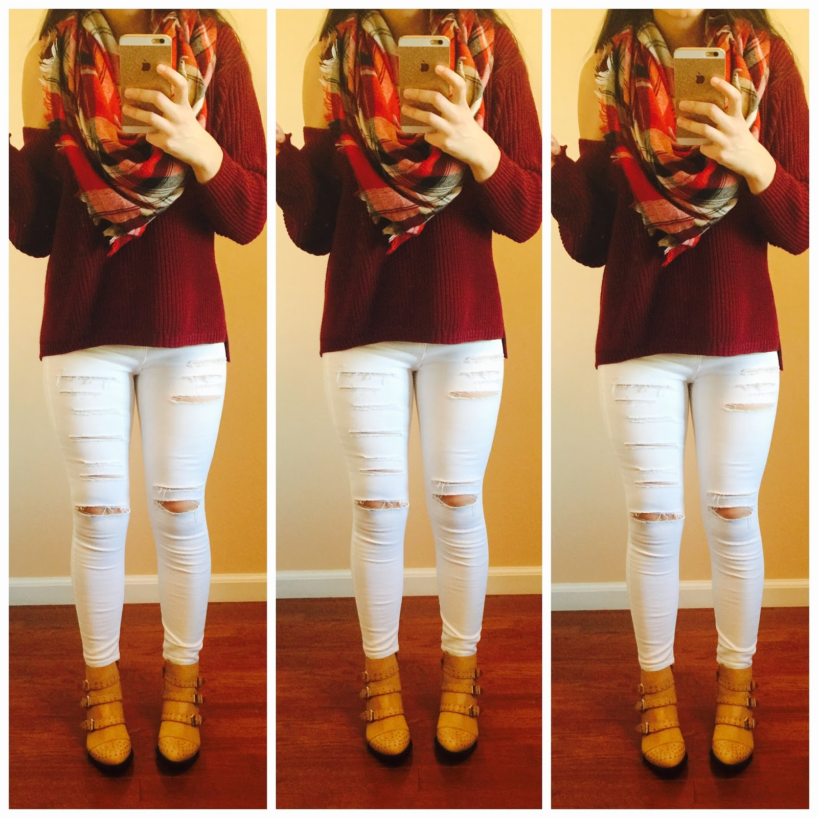 plaid blanket scarf, white distressed jeans, burgundy oversized sweater, burgundy sweater, destroyed white jeans, pretty,