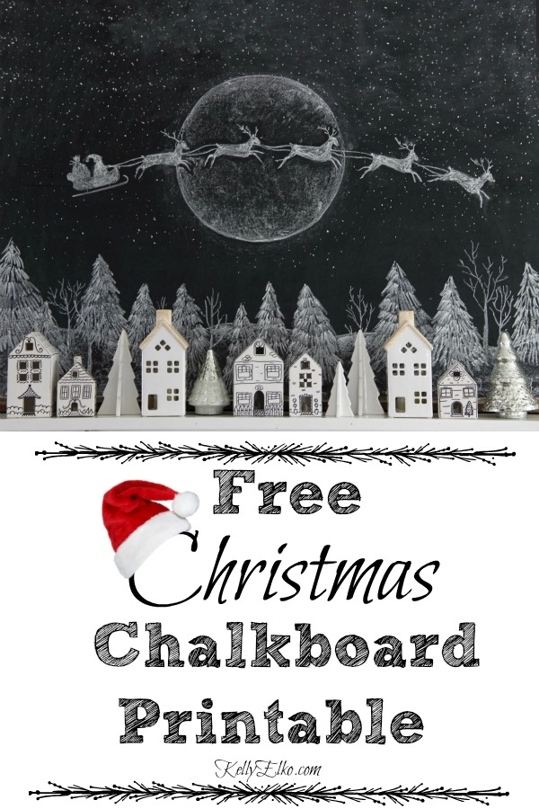 Free chalkboard tree and Santa art printable