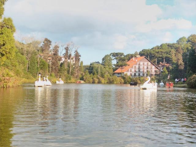 paisagem de lago com pedalinhos e casarao ao fundo