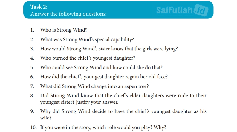 Jawaban Soal Bahasa Inggris Task 2 Hal 185 Chapter 14 Strong Wind