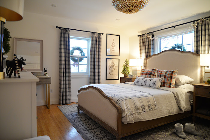 plaid curtains, plaid pillows, stiped flannel bedding, windpane blanket, wreaths in windows
