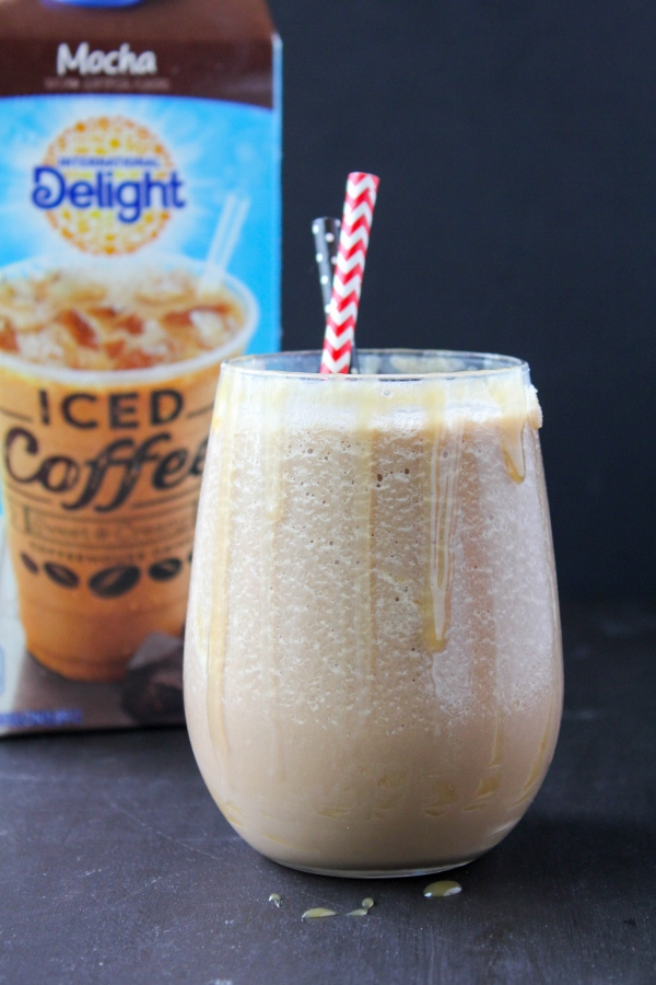Skip a trip to the coffeehouse and make your own icy and delicious Frozen Caramel Mocha Latte at home!