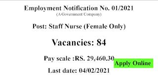 Govt Staff Nurses recruitment - Female Only