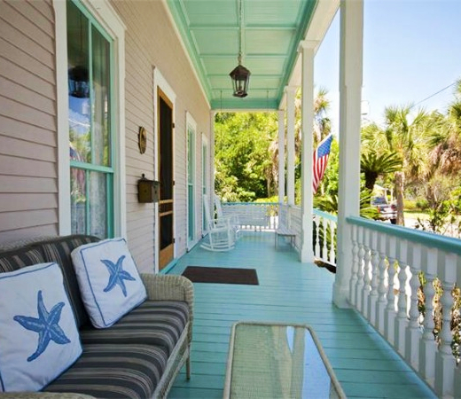 Wood Porch Floor Painted Blue Turquoise