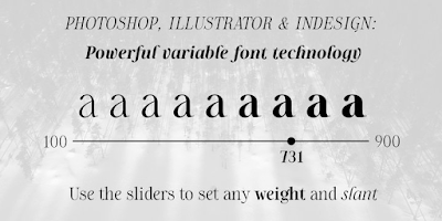 Photoshop, Illustrator, and Indesign: Powerful variable font technology. Use sliders to set any weight and slant