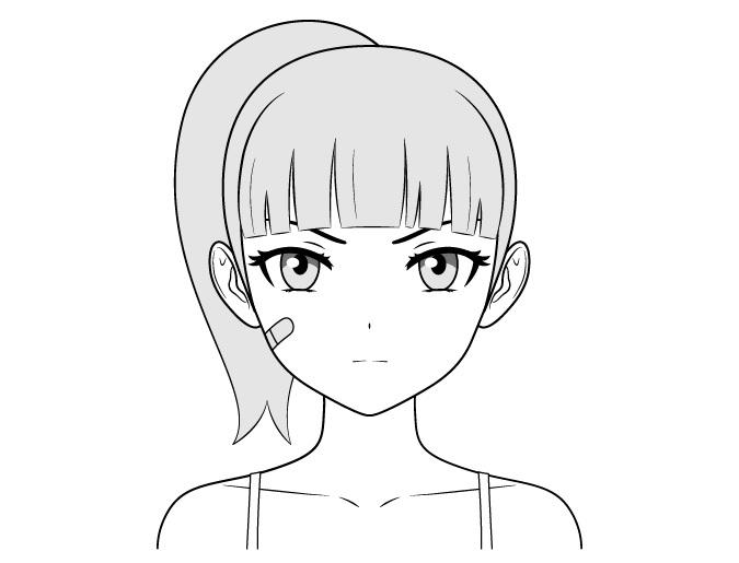 Anime menggambar wajah gadis tangguh