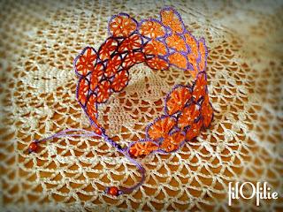 Tapis de fleur, bracelet en frivolité, dentelle aux navettes