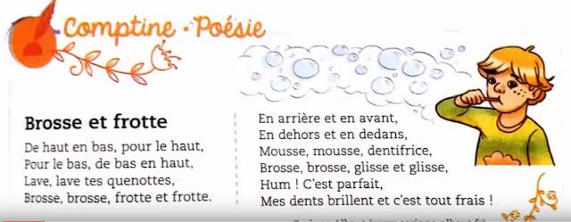 2AEP - mes apprentissages en français -Comptine_Poésie : brosse et frotte