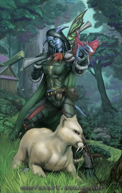 Дренейка-охотница с питомцем