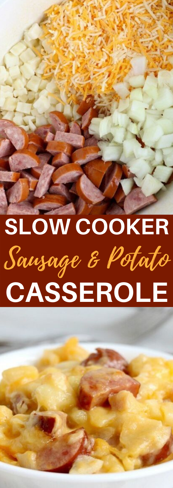 Slow Cooker Sausage and Potato Casserole #dinner #recipSlow Cooker Sausage and Potato Casserole #dinner #recipes #casserole #slowcooker #easyes