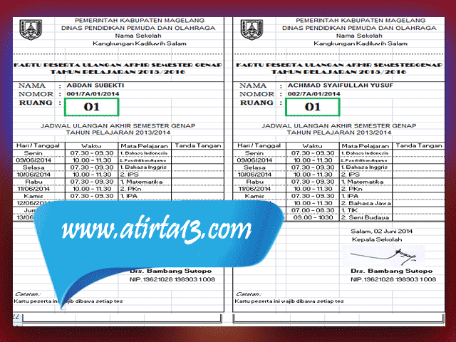 Aplikasi Cetak Otomatis Kartu Ujian Kenaikan Kelas ( UKK ) Terbaru Lengkap dengan Jadwal Ujian