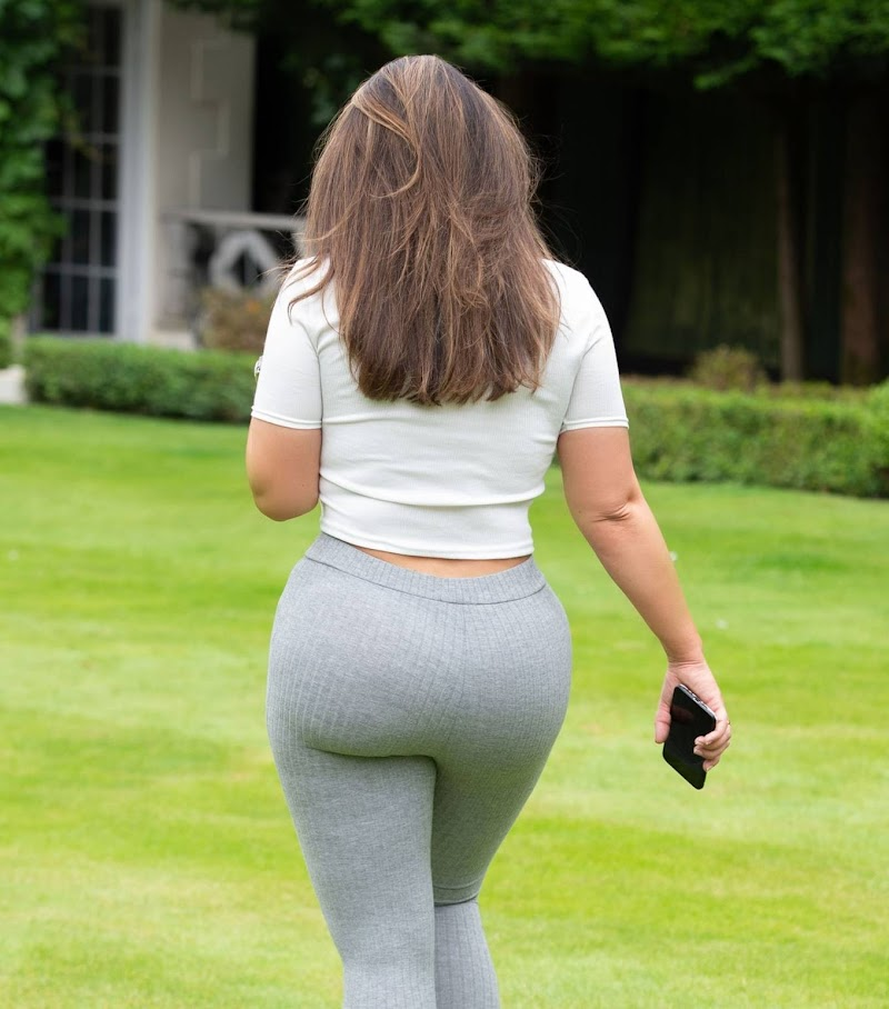 Lauren Goodger Snapped while playing with a Dachshund in a park in Essex
