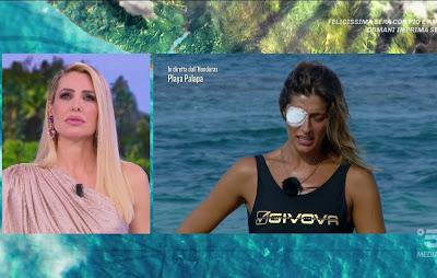Ilary Blasi elisa Isoardi occhio ferito foto con la benda oggi isola dei famosi
