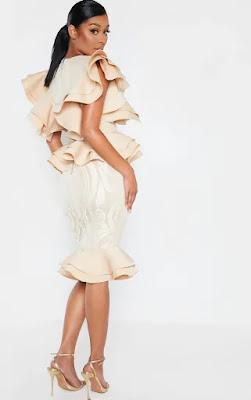 Nude Ruffle Detail Plunge Midi Prom dress back side
