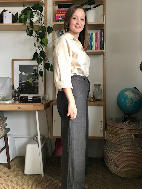 Diary of a Chain Stitcher: Paper Theory Olya Shirt in Stitched Silk/Cotton from The Fabric Store and Anna Allen Persephone Pants in Washed Linen from The Cloth Shop