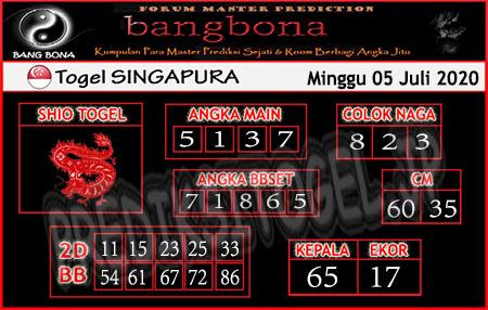 Prediksi Bangbona SGP Minggu 05 Juli 2020