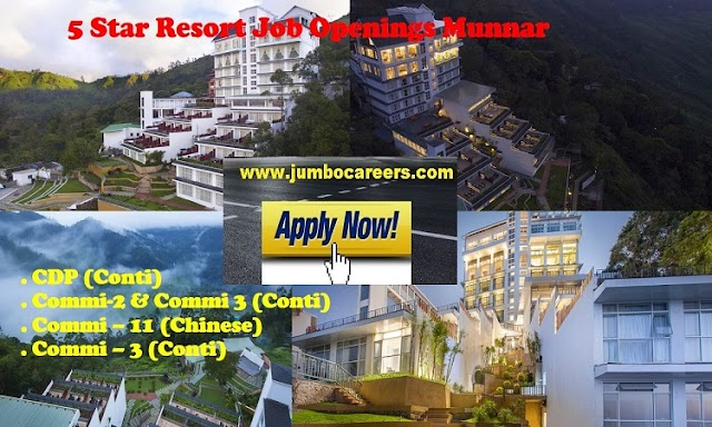 Urgent Job Openings in 5 Star Fragrant Nature Resort Munnar