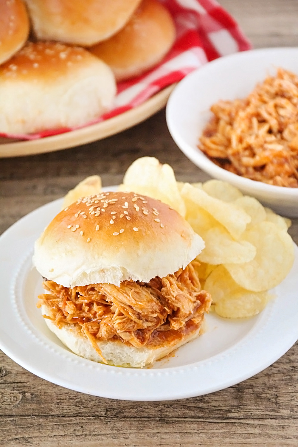 These instant pot barbecue chicken sandwiches are so juicy and flavorful, and so easy to make!