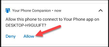 انقر فوق السماح في إشعار android