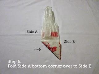 Step 6. Fold Side A bottom corner over to Side B.
