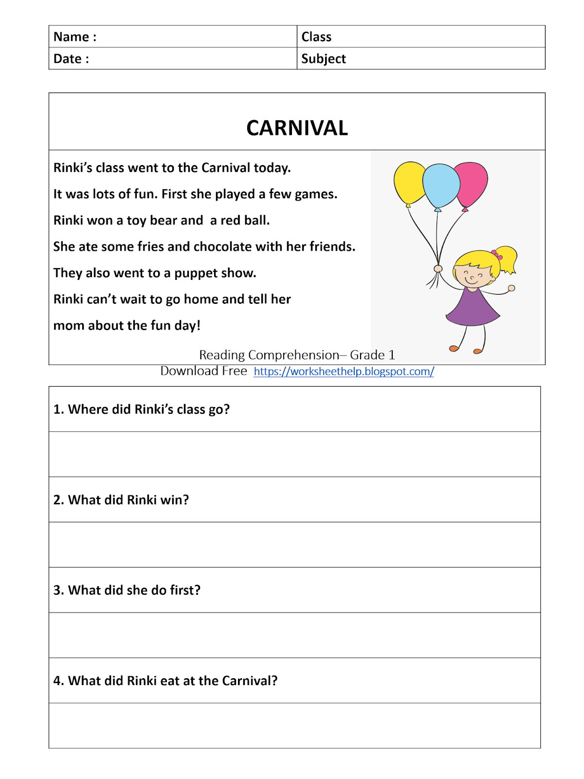 Clipart Creationz: Reading Comprehension Worksheet - Grade 1 - Carnival [ 1600 x 1200 Pixel ]