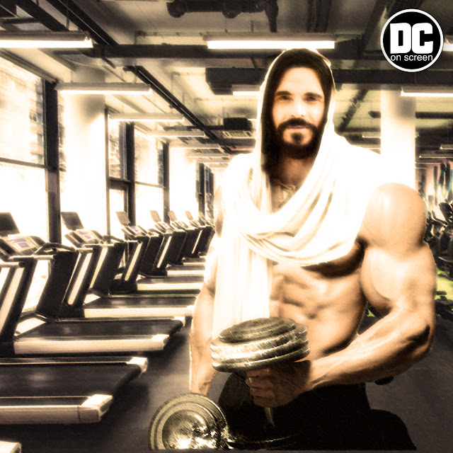 Jesus getting ripped at the gym