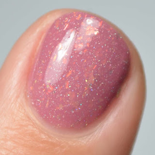 rose nail polish with flakies