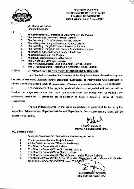 UP GRADATION OF THE POST OF ASSISTANT LIBRARIAN