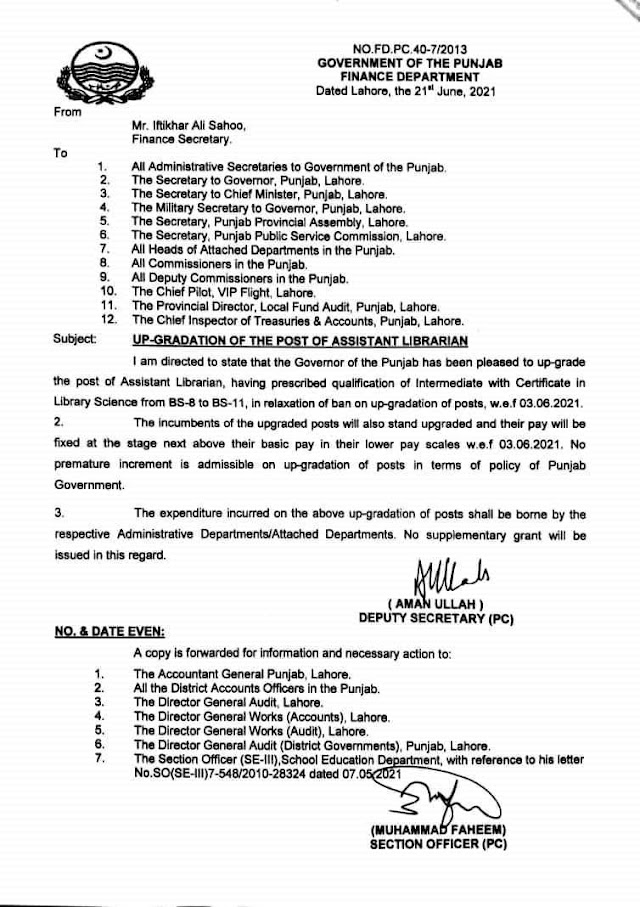 UP-GRADATION OF THE POST OF ASSISTANT LIBRARIAN