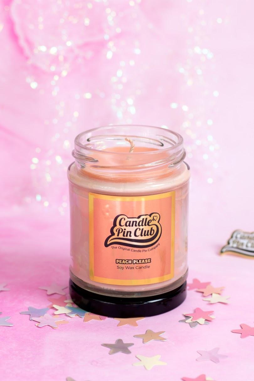 candle pin club peach please enamel pin