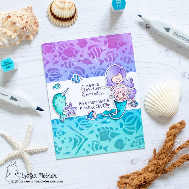 Fin-tastic Birthday Card by Zsoifa Molnar   Narly Mermaids Stamp Set and Tropical Fish Stencil by Newton's Nook Designs #newtonsnook #handmade