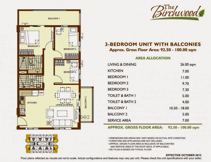 The Birchwood 3-Bedroom Unit 92.50-100.00 sqm