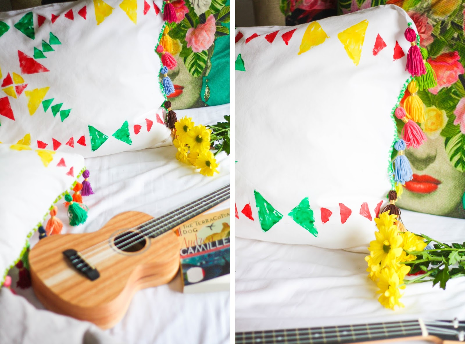 DIY bright tassel cushions and pillows