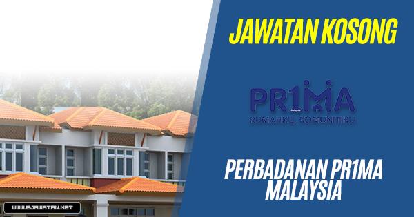 jawatan kosong Perbadanan PR1MA Malaysia (PR1MA) 2018