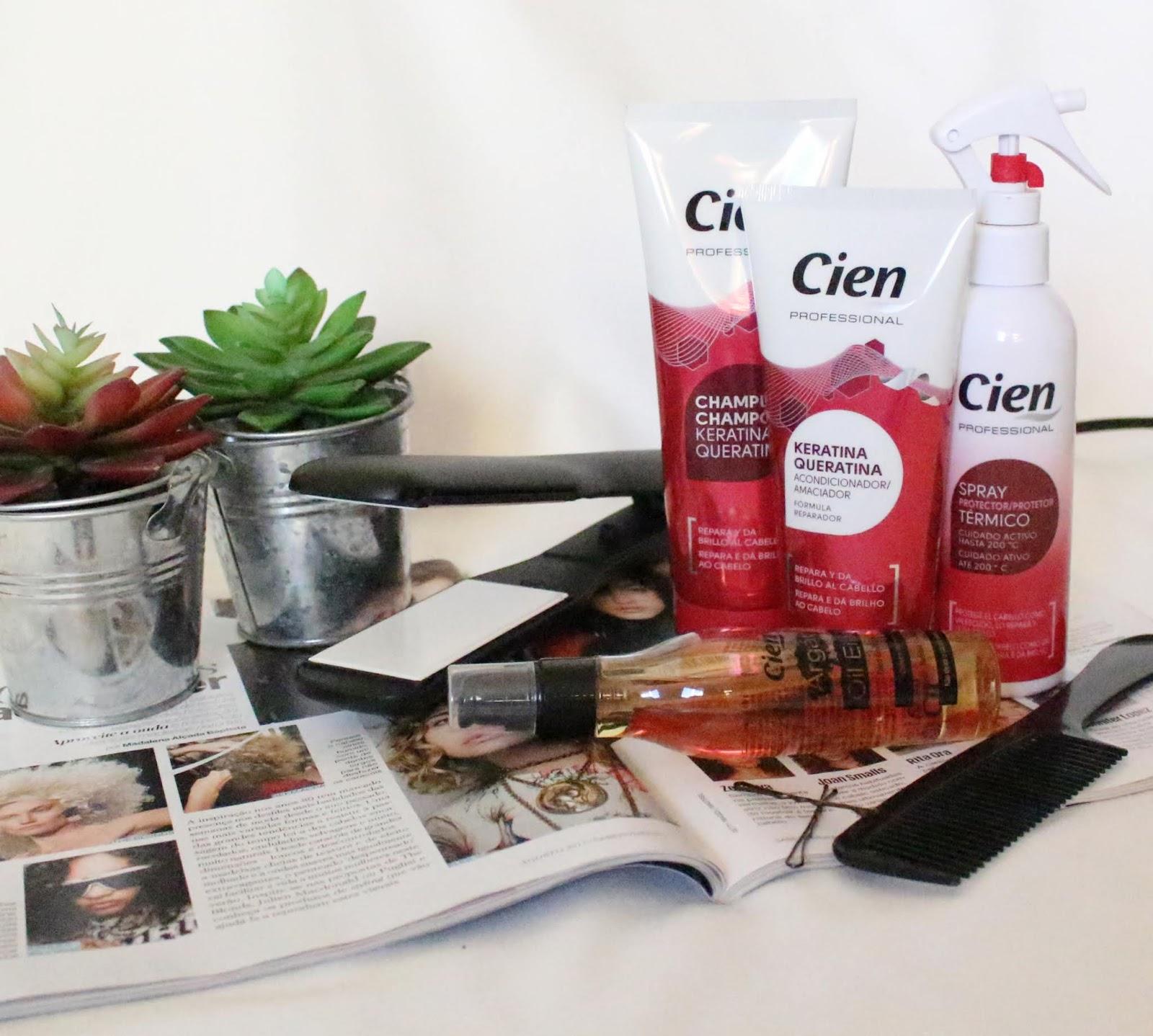 Review dos produtos da Cien: champô e condicionador de queratina, protetor térmico e óleo de argão