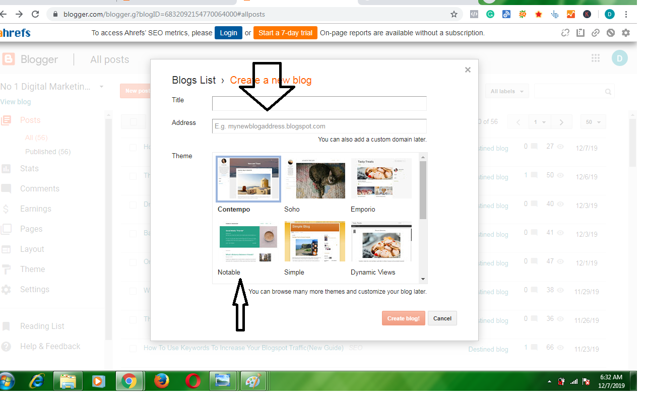 how to create a blog on blogger 1