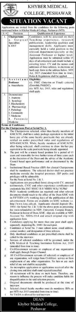 Khyber Medical College Jobs 2021 in Pakistan