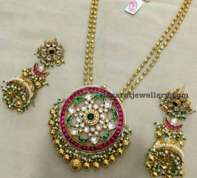 Balls Chain with Kundan Jhumkas Pendant