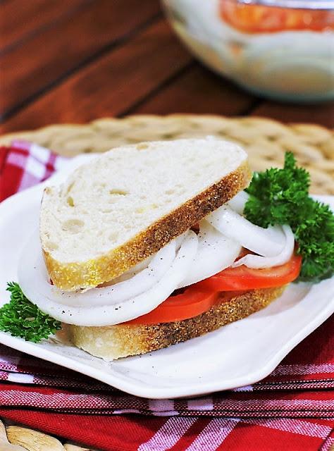 Marinated Vidalia Onion & Tomato Sandwich Image