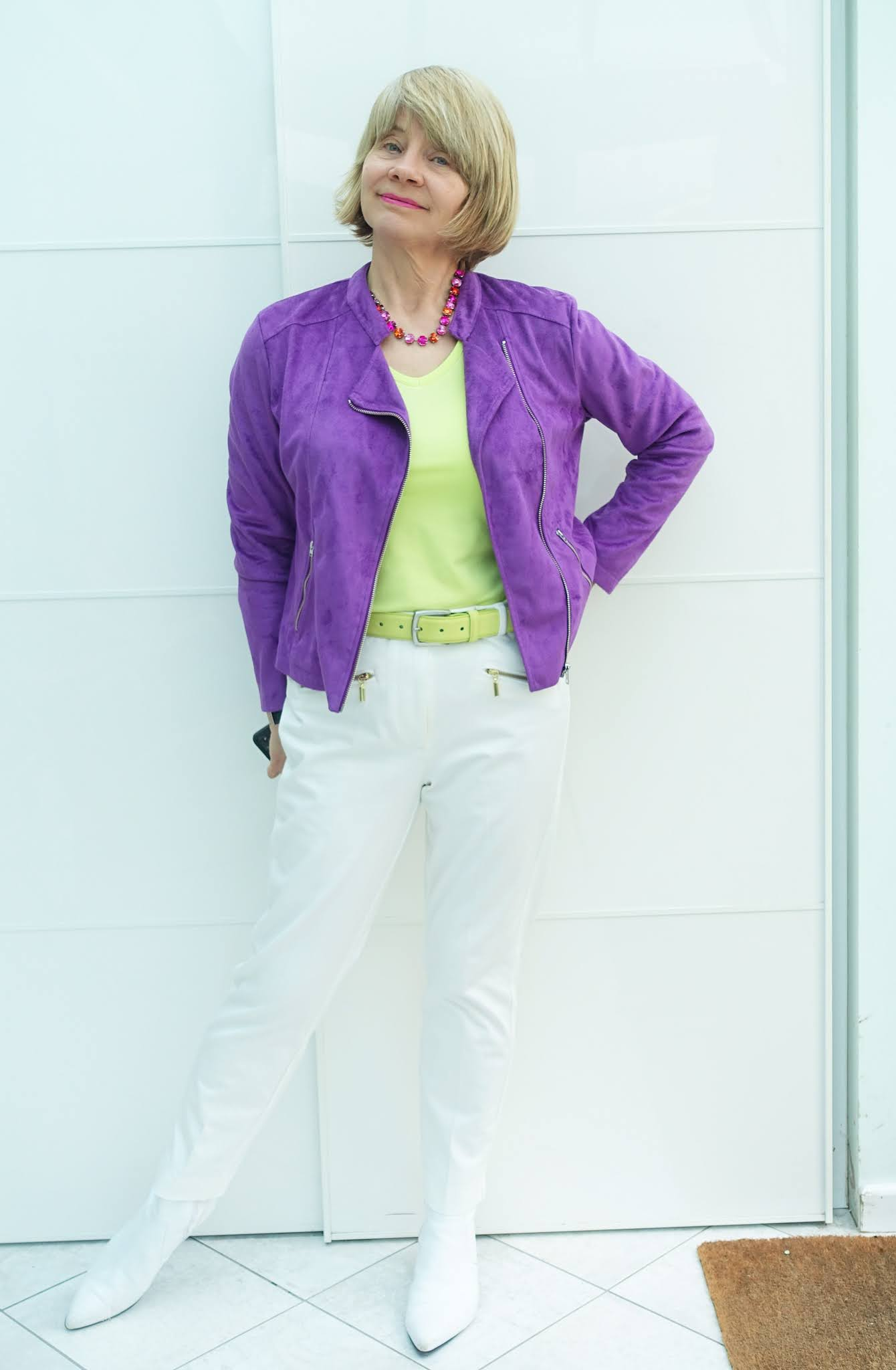 Pairing zingy acid yellow with bright violet and white: Is This Mutton blogger Gail Hanlon