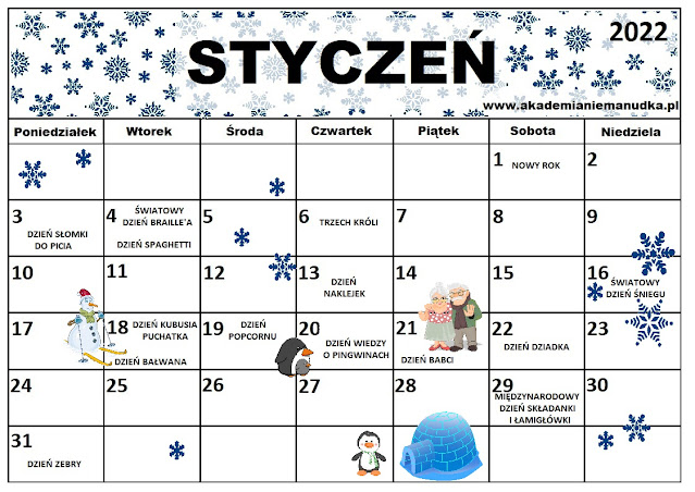 Kalendarz świąt nietypowych dla dzieci na rok szkolny 2021/2022 styczeń