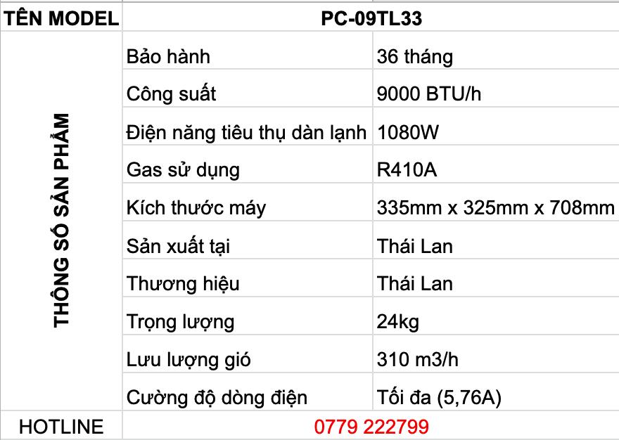 THÔNG SỐ KỸ THUẬT ĐIỀU HÒA DI ĐỘNG CASPER 9000BTU 1 CHIỀU PC-09TL33