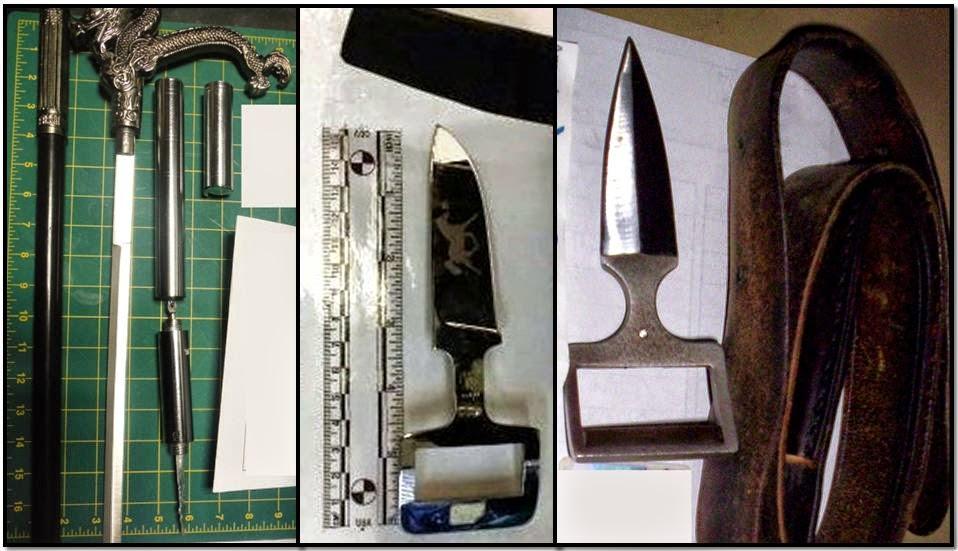 discovered cane sword, nanchucks, belt buckle knives