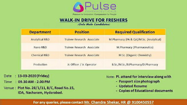 Pulse Pharmaceuticals Walk-in interview for multiple positions - Freshers on 13th Mar' 2020