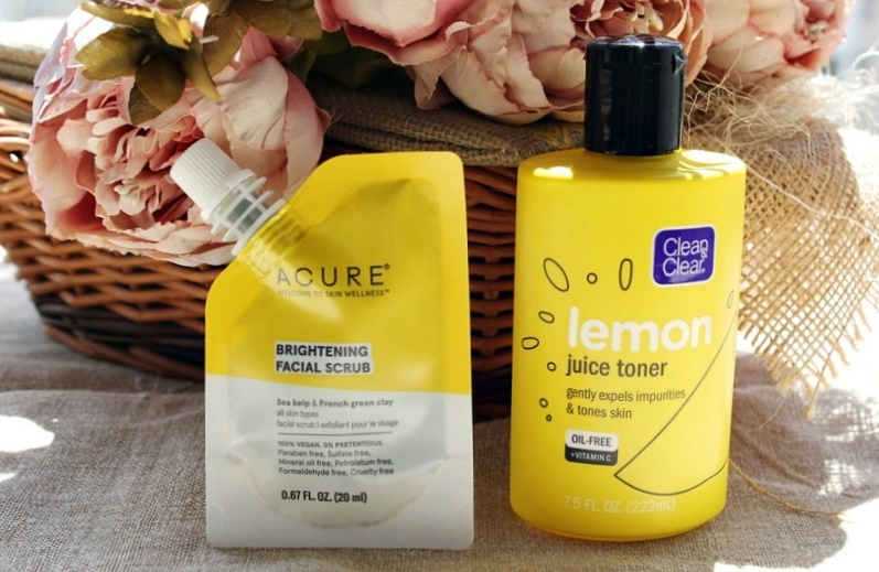 Бюджетные находки с iherb: осветляющий скраб для лица Acure Brightening Facial Scrub и тоник с лимонным соком Clean & Clear Lemon Juice Toner / обзор, отзывы
