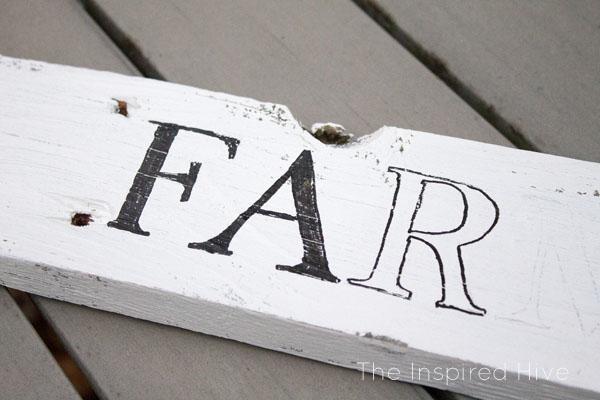 "How to make an easy DIY reclaimed wood farmhouse style ""Farmer's Market"" sign using an easy text transfer method."