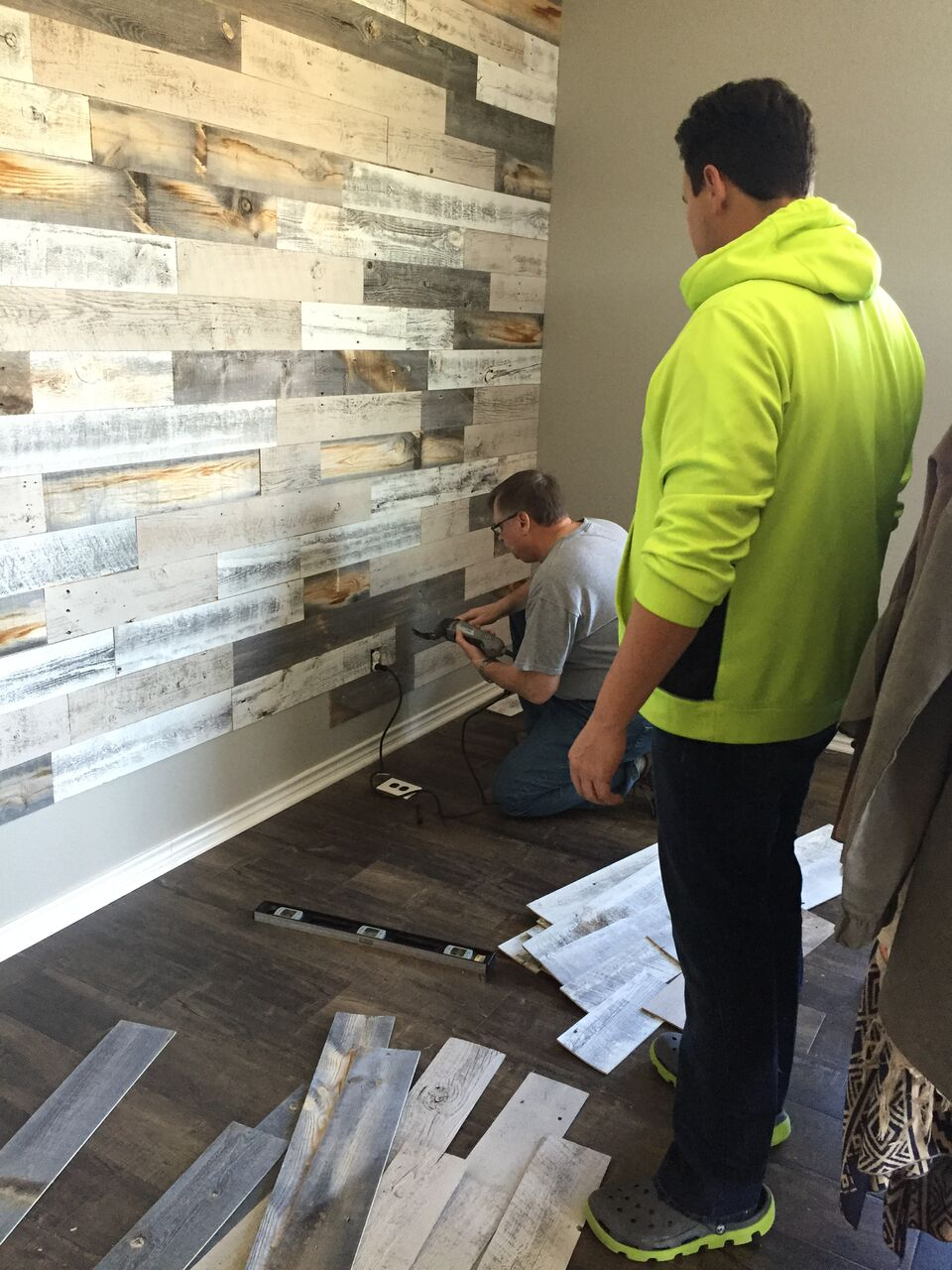 Skinny meg large feature wall with stikwood - Wood walls in living room ...