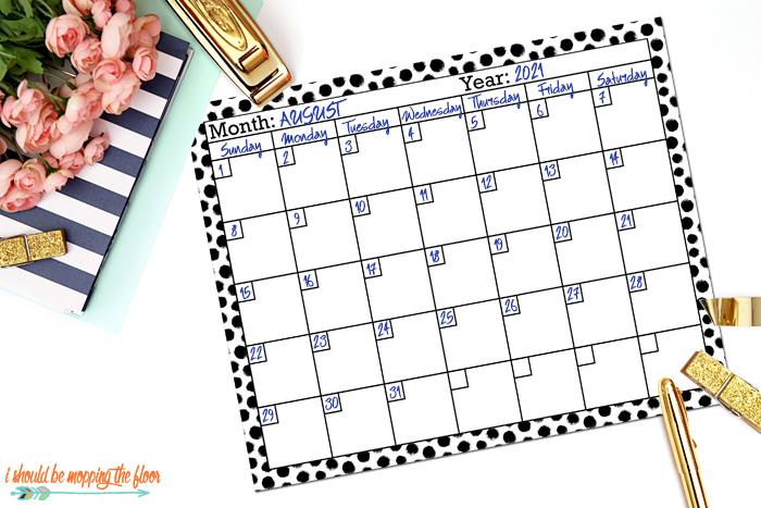Calendar Page Printables